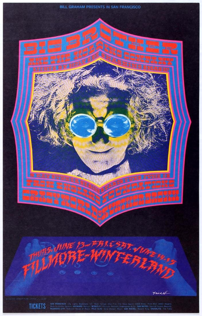 Original Advertising Concert Poster Bill Graham Big