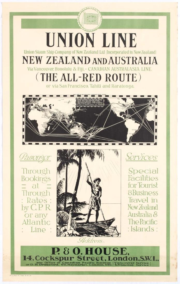 Original Travel Poster Union Line New Zealand Australia