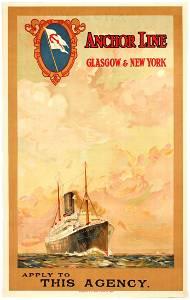 Original Travel Poster Anchor Line Glasgow New York