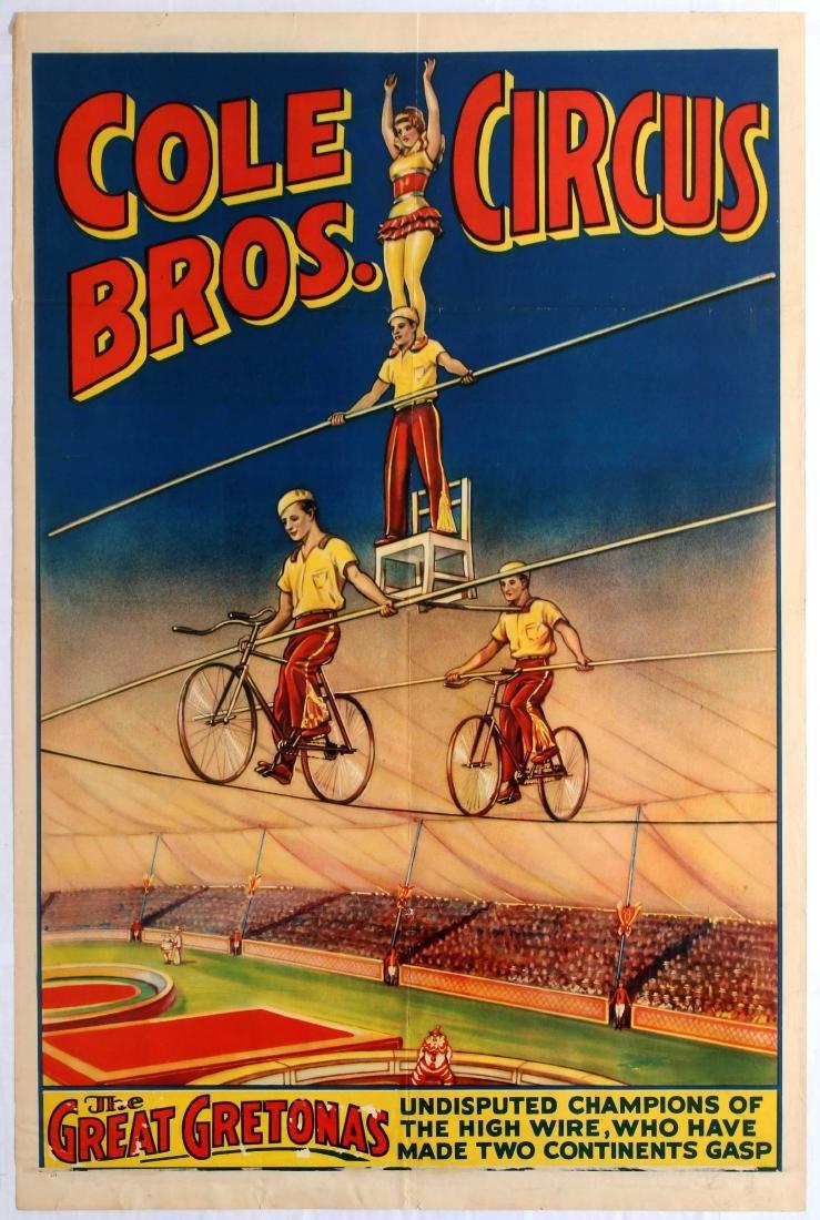 Original Advertising Poster Cole Bros Circus Gretonas