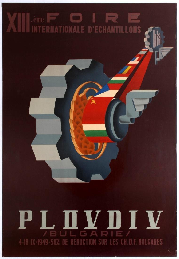 Original Travel Poster Plovdiv Bulgaria Fair Art Deco