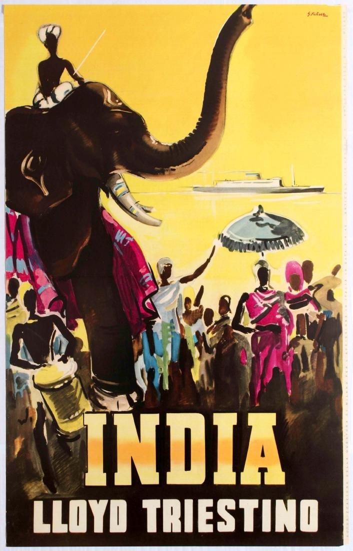 Original Travel Poster India Lloyd Triestino Giovanni