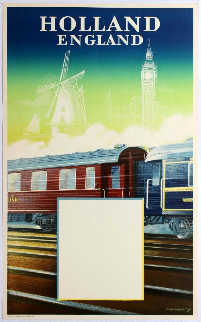 Original Travel Poster Holland England Railway