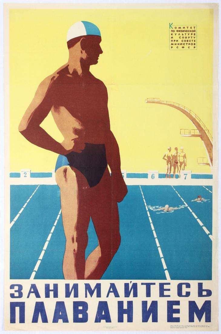 Original Vintage Sport Poster Swimmer USSR