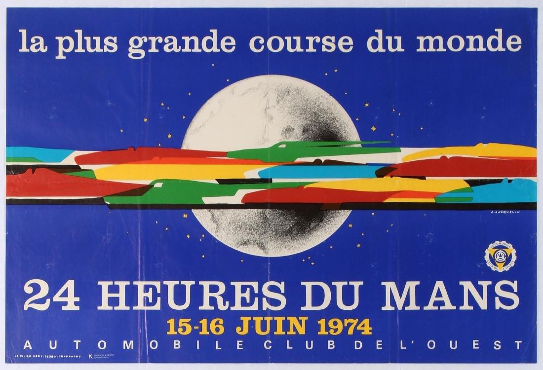 Original Sport Poster 24 Hours Le Mans 1974 Car Racing