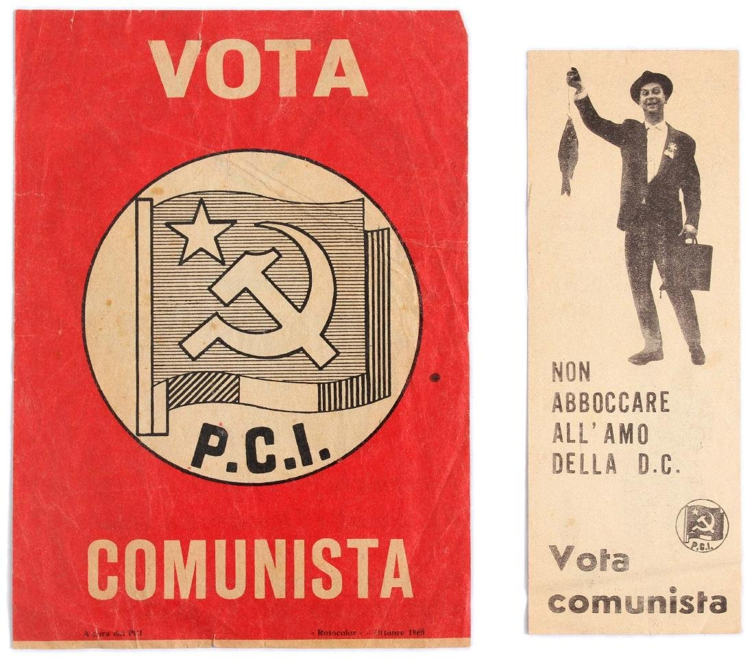 Set of 2 Original Propaganda Flyers Vote Communist