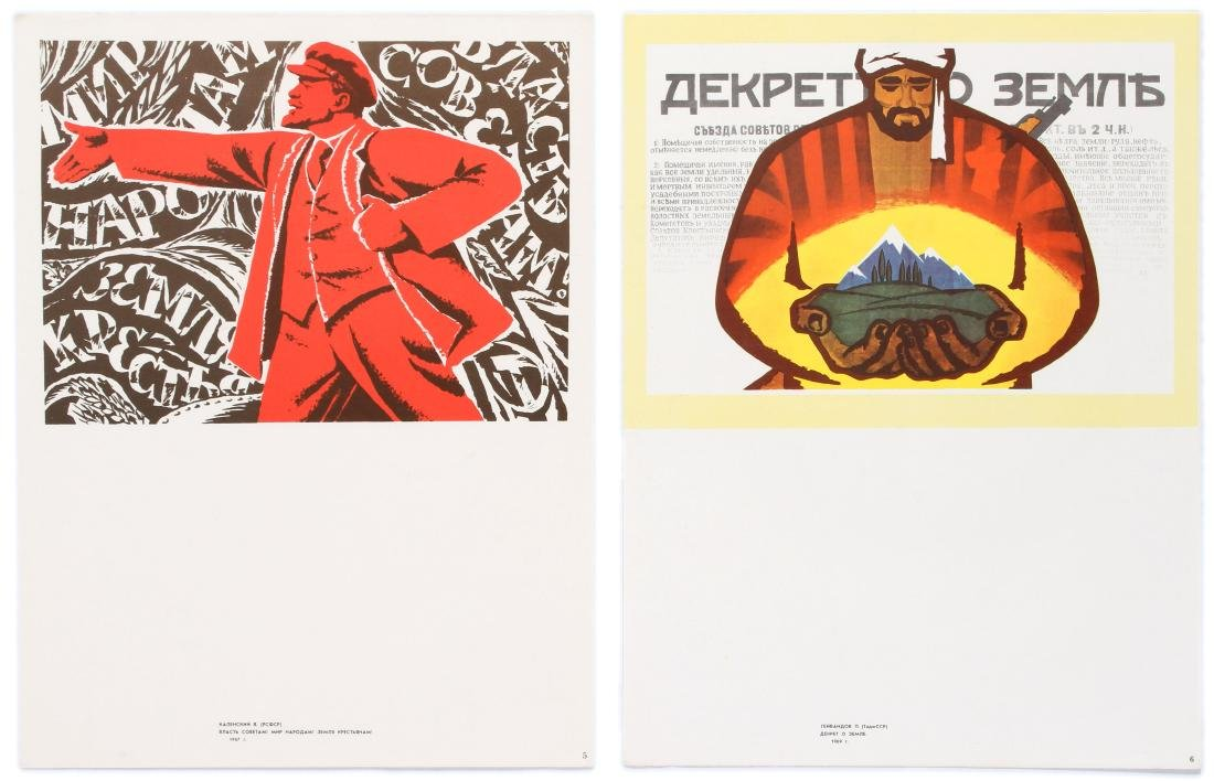 Set of 4 Vintage Propaganda Posters People Power USSR