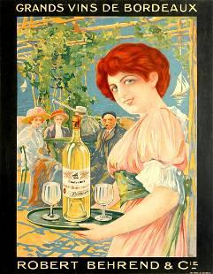 Original Advertising Poster Bordeaux Wines Grand Vins