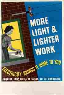 Original Advertising Poster Electricity Brings More