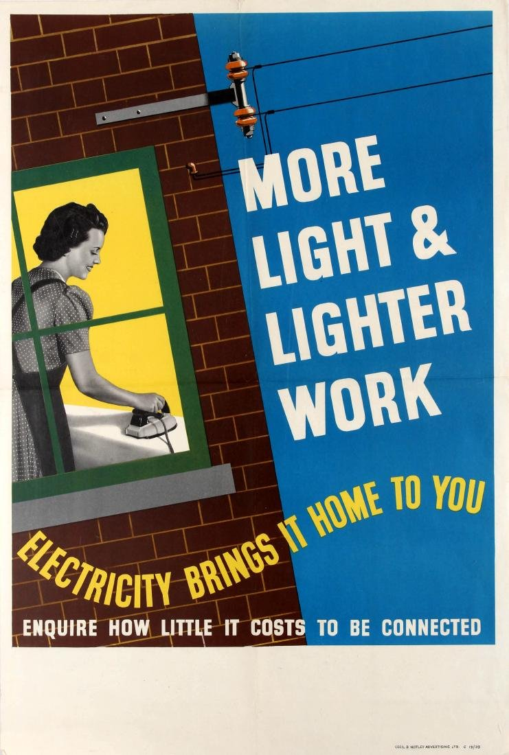 Original  Advertising Poster Electricity Brings More