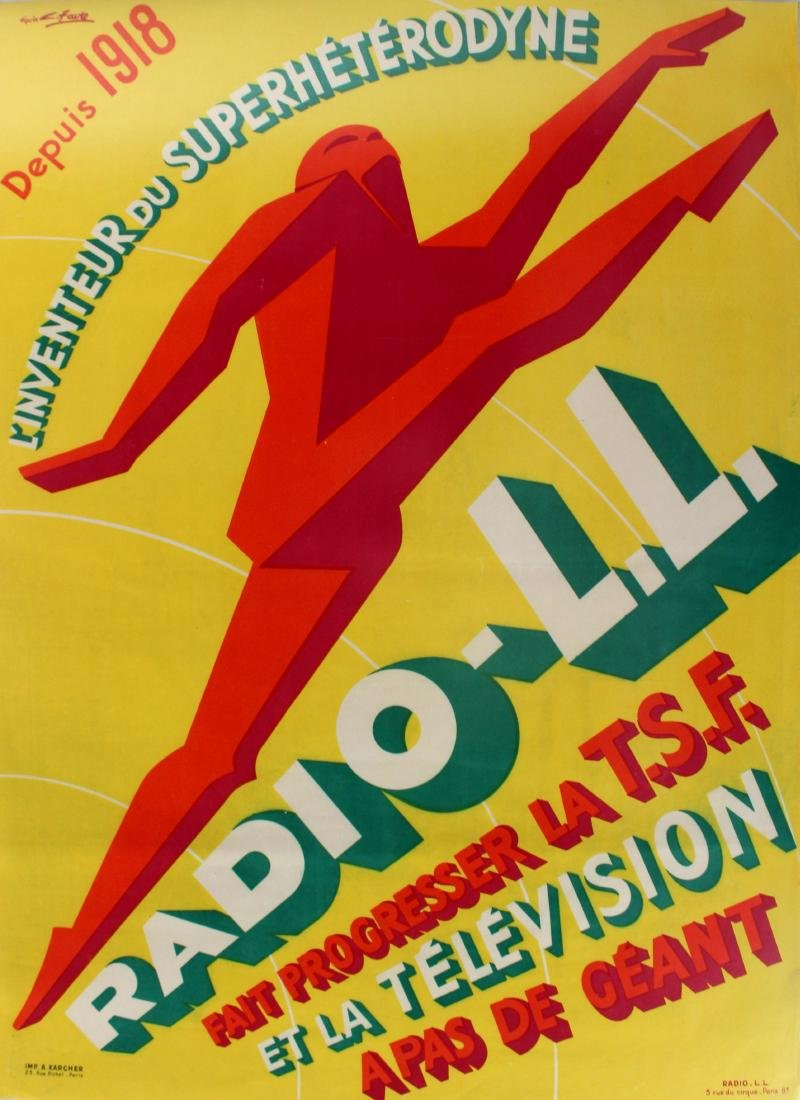 Original  Advertising Poster Radio LL Art Deco Favre