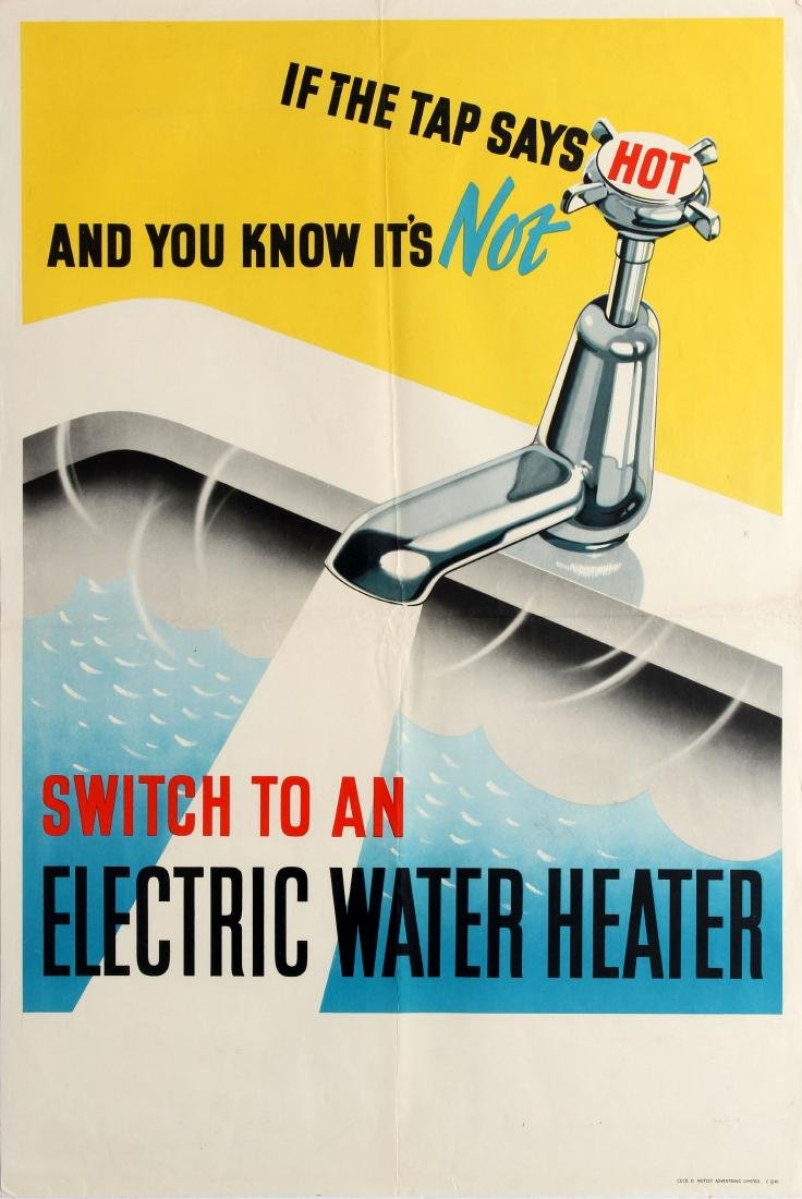 Original  Advertising Poster Electric Water Heater