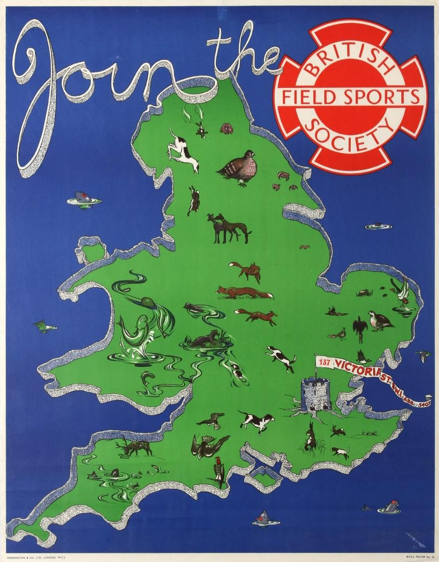 Original  Advertising Poster British Field Sports