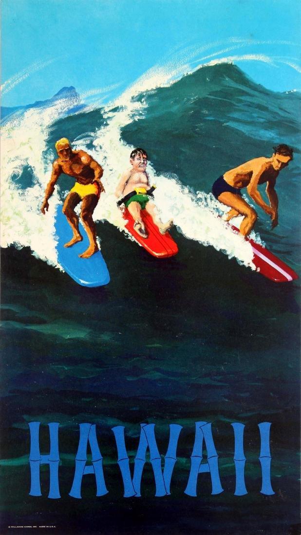 Original  Advertising Poster Hawaii Surfing Hallmark