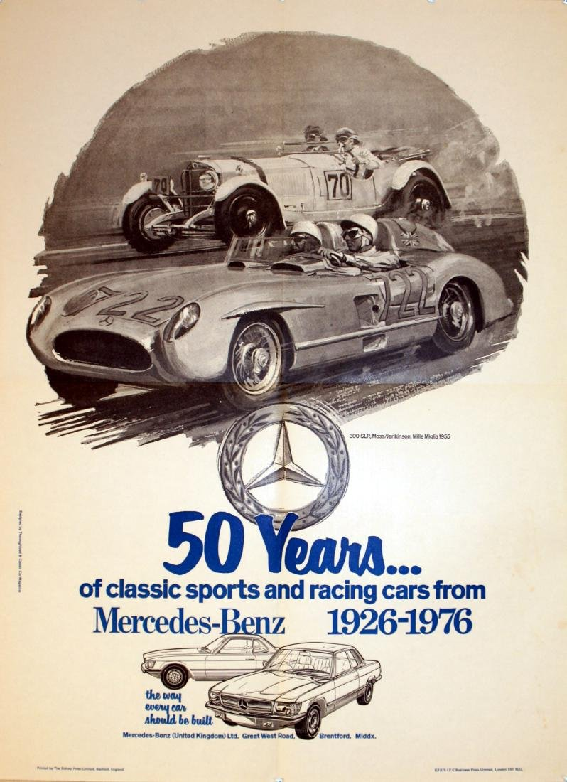 Original  Advertising Poster Mercedes Benz 300SLR Mille