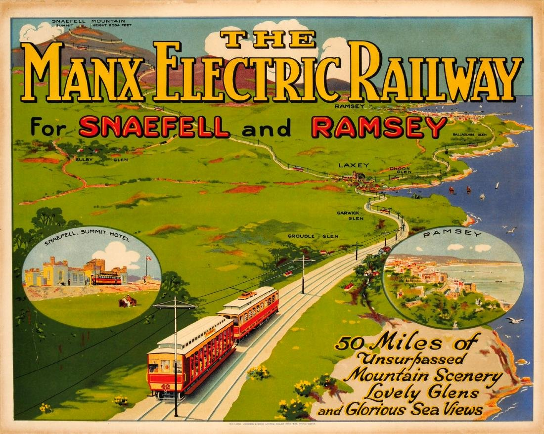 Original  Travel Poster The Manx Electric Railway