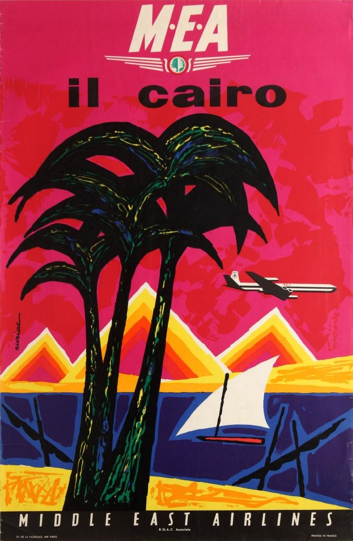 Original  Travel Poster Cairo Middle East Airlines MEA