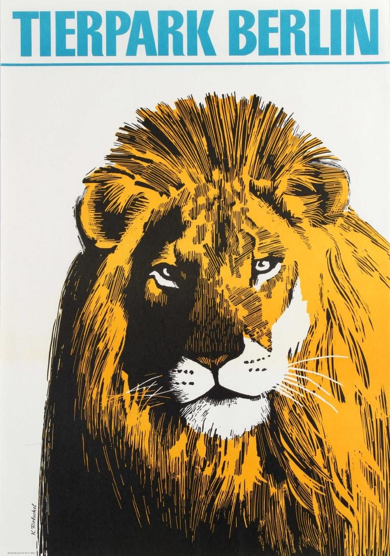 Original  Travel Poster Berlin Zoo Lion