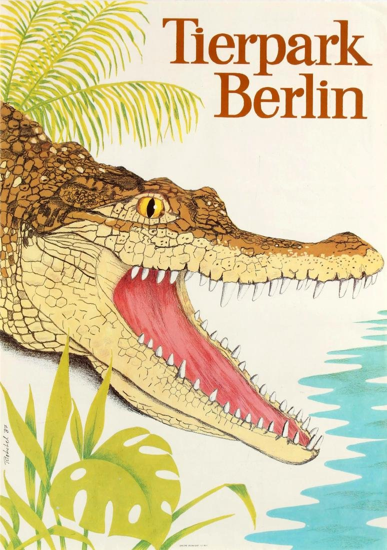 Original  Travel Poster Berlin Zoo Crocodile