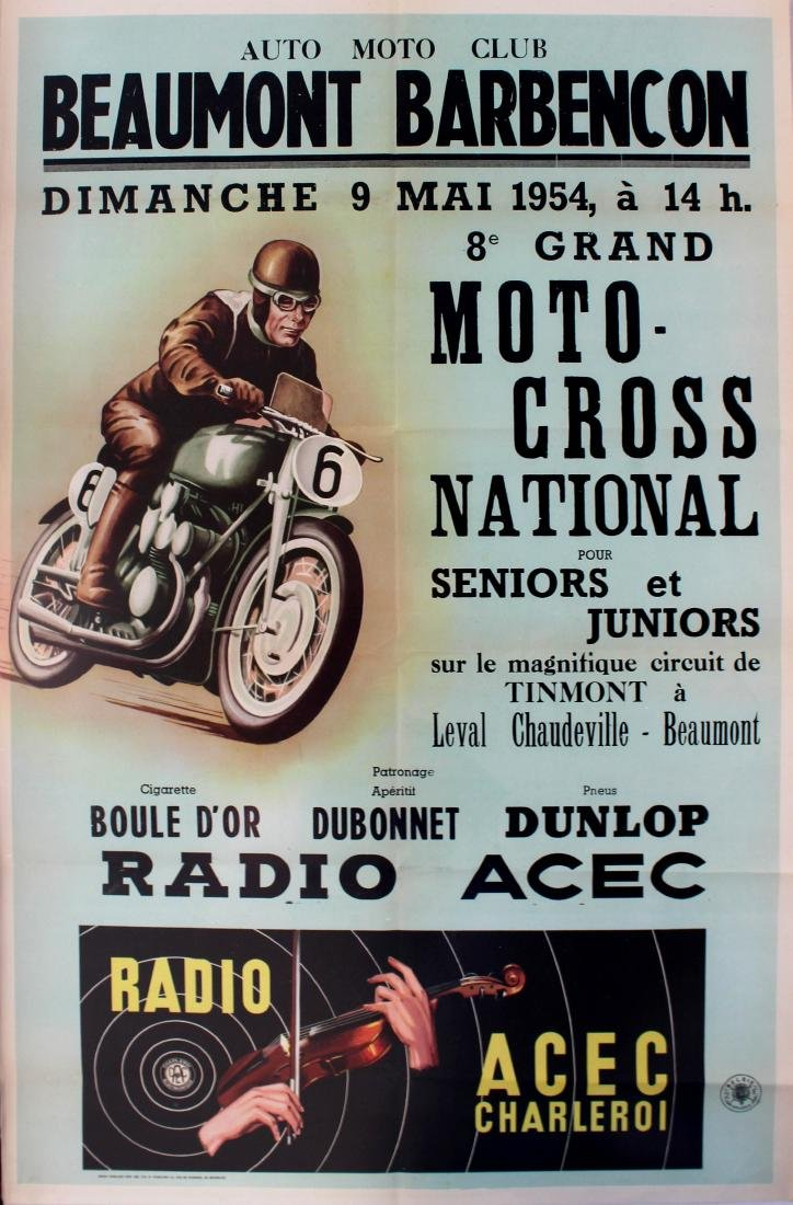 Original  Sport Poster Moto Cross Beaumont 1954