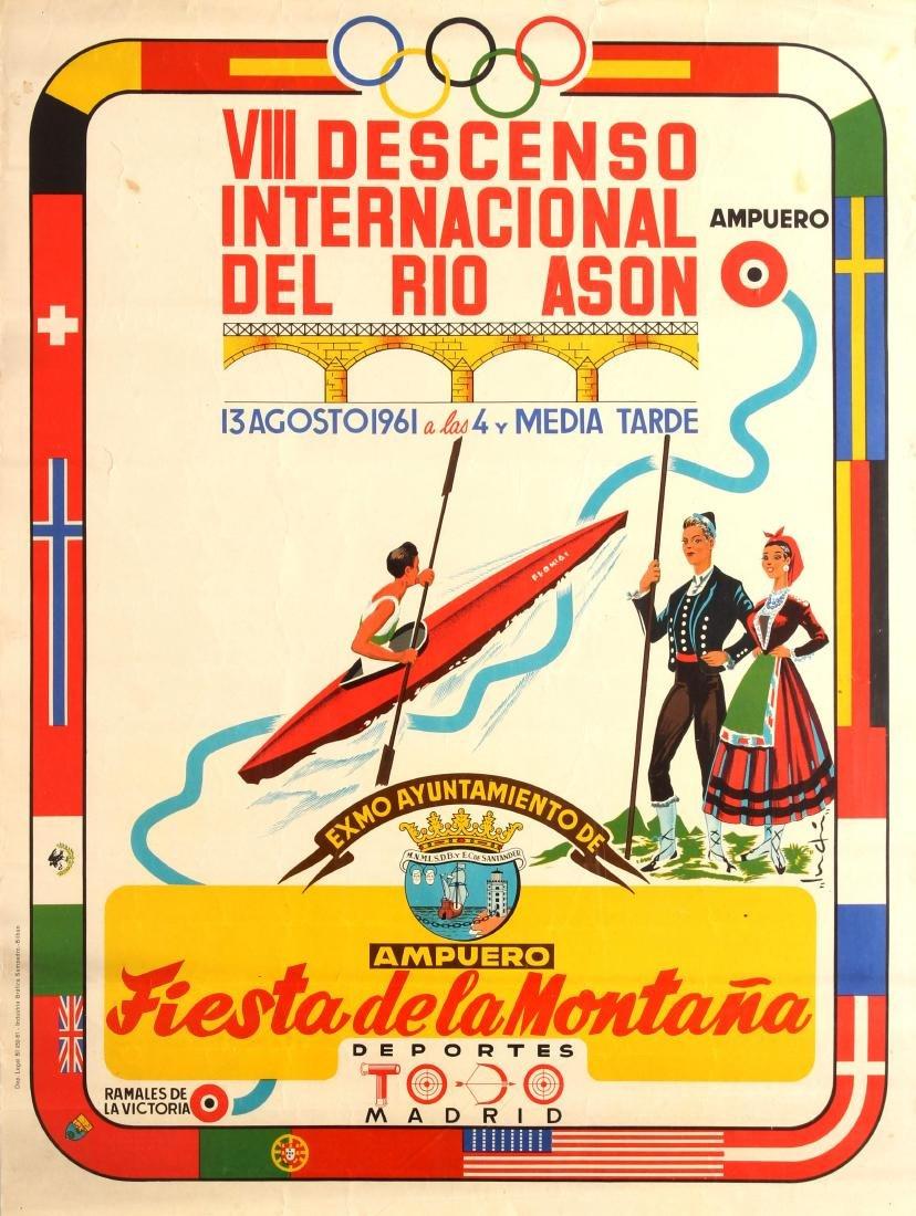 Original  Sport Poster Kayaking Rio Ason River Spain