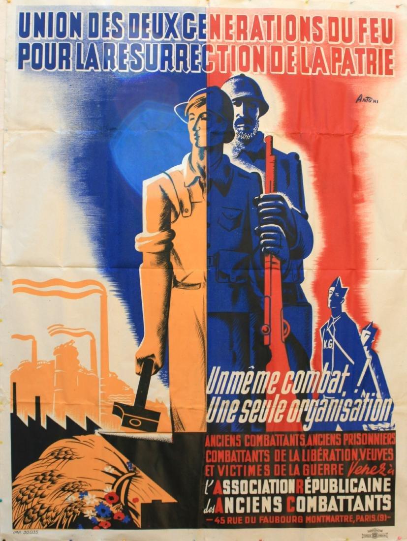 Original  Propaganda Poster Art Deco WWI France War