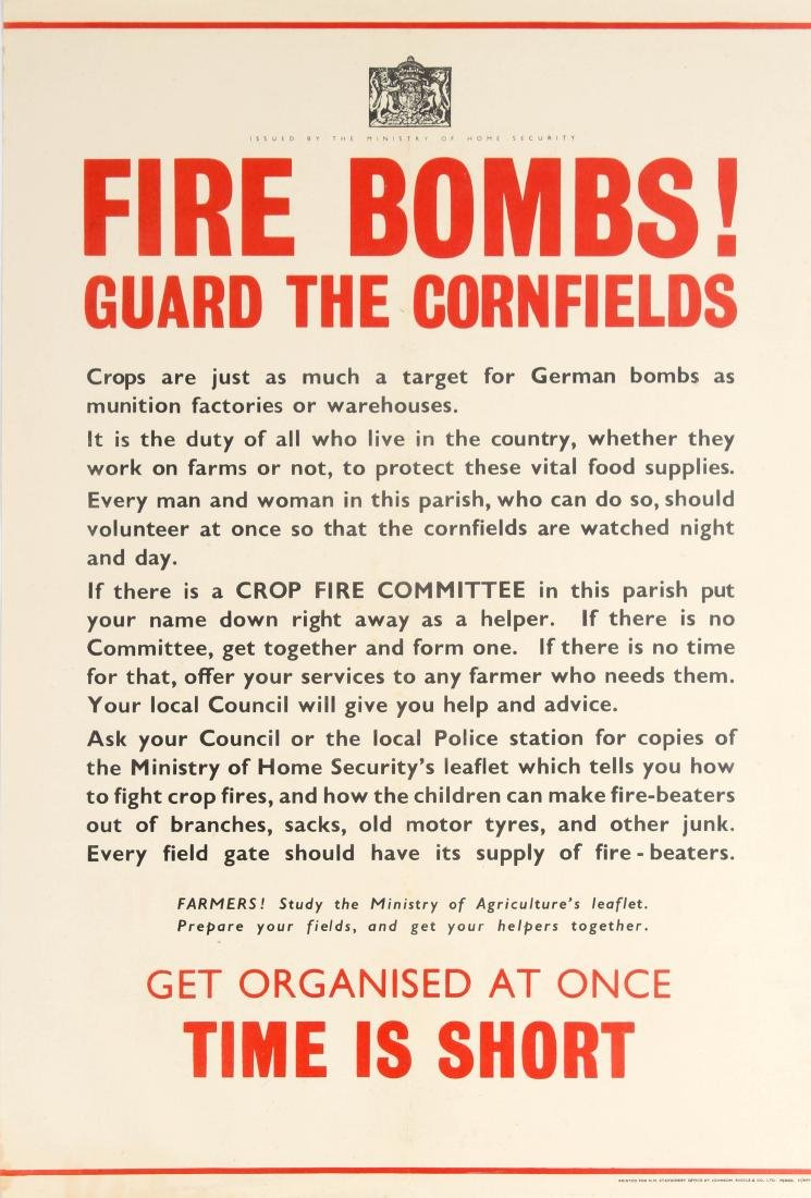Original  War Poster Fire Bombs Cornfields Home Front