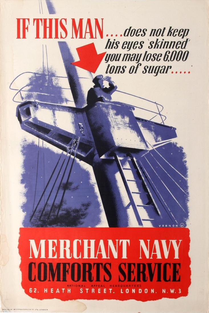 Original  War Poster Merchant Navy WWII UK