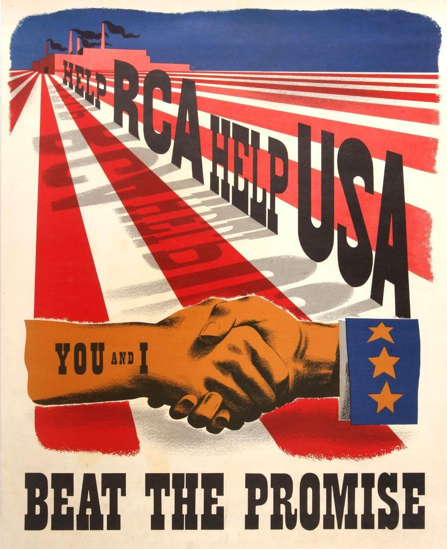 Original  War Poster Help RCA Help USA WWII