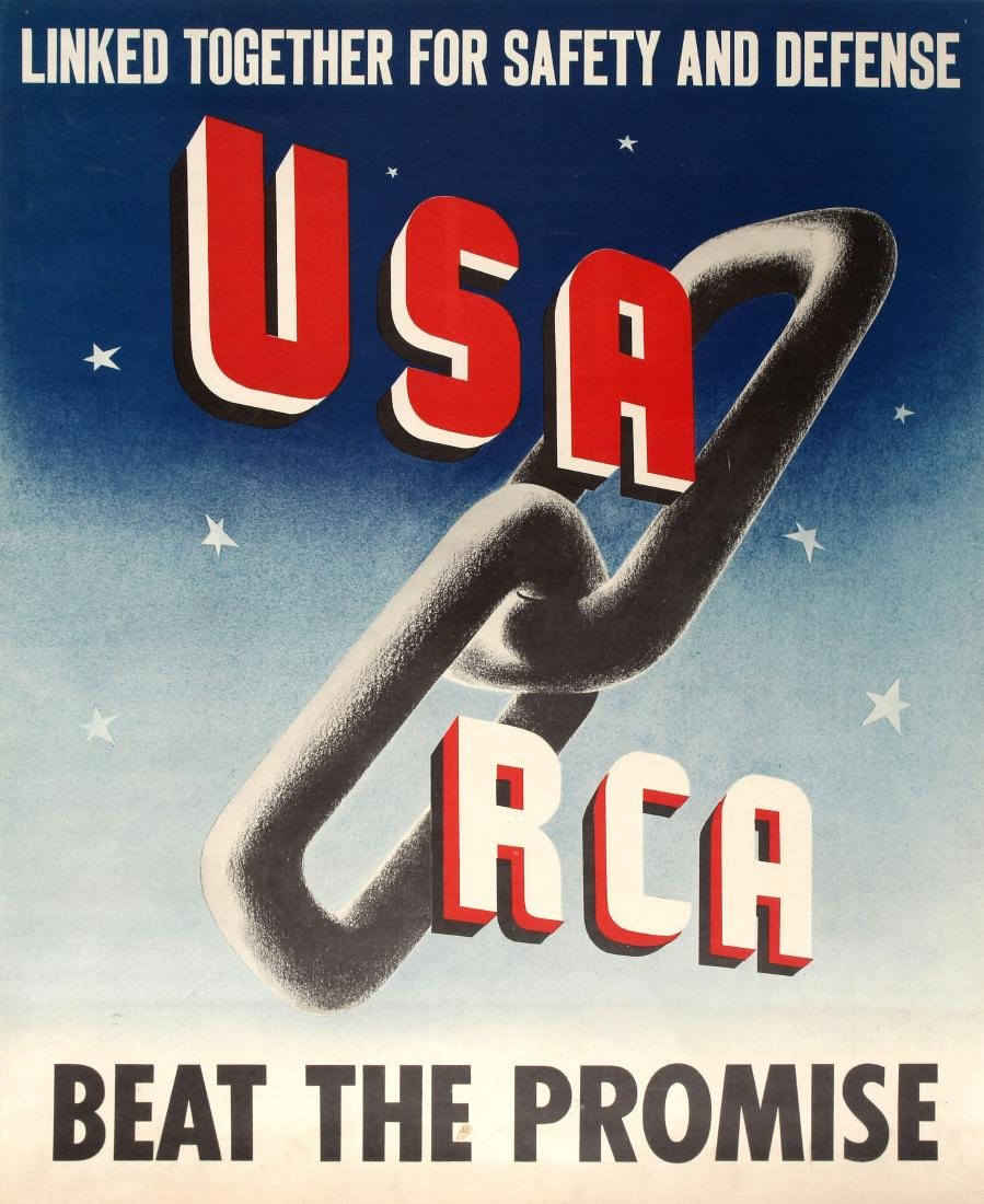 Original  War Poster USA RCA Beat the Promise WWII