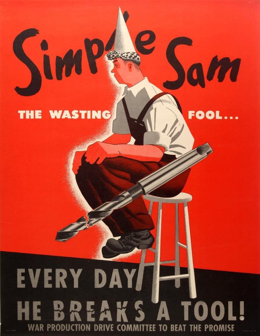 Original  War Poster Simple Sam WWII USA Home Front