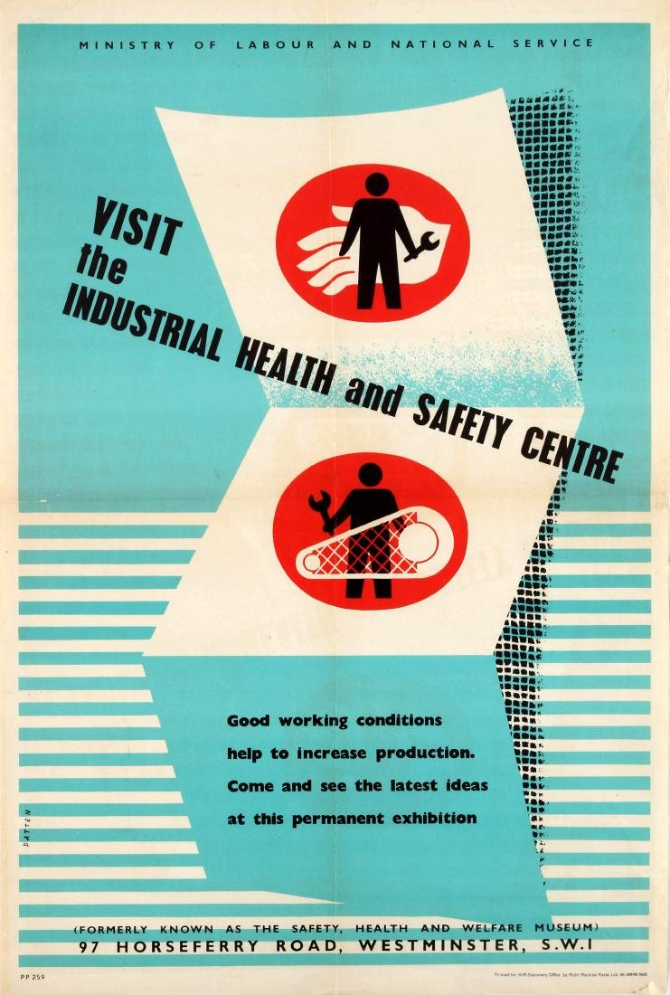 Original  Propaganda Poster Industrial Health Safety