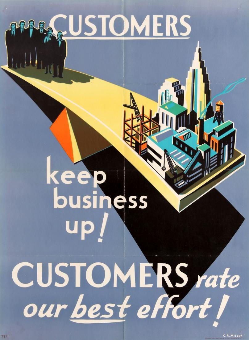Original  Propaganda Poster Customers Keep Business Up