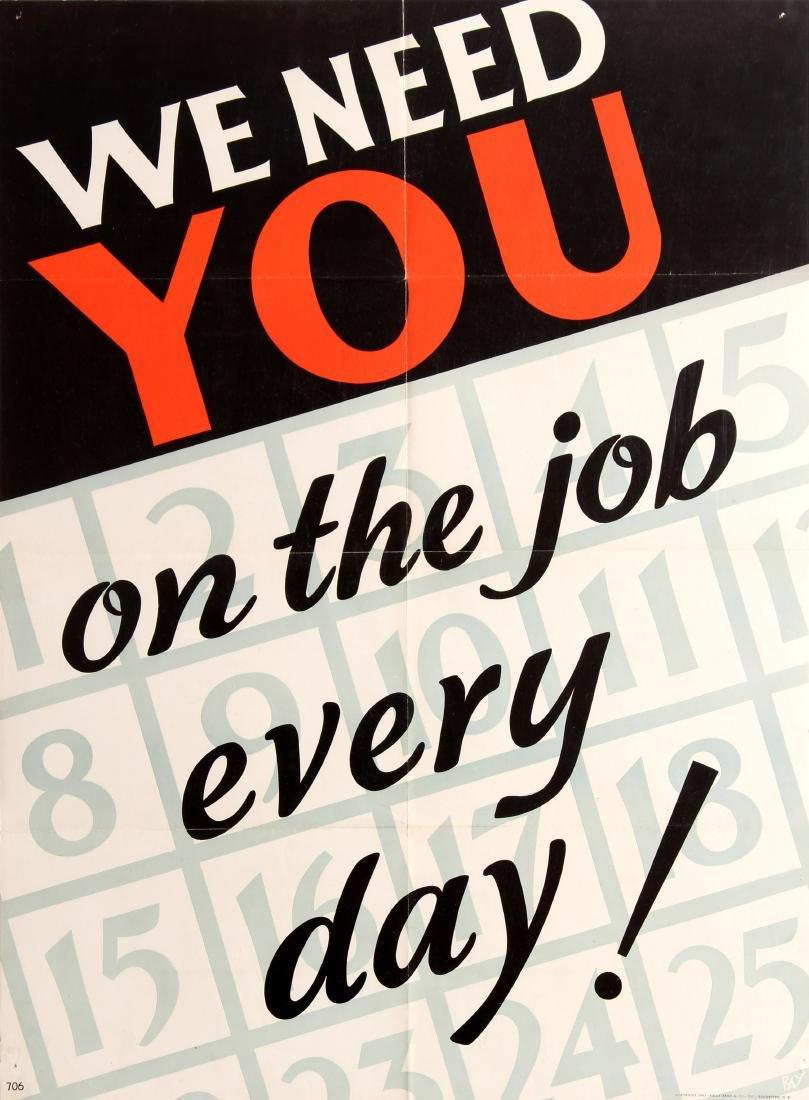 Original  Propaganda Poster We Need You On The Job