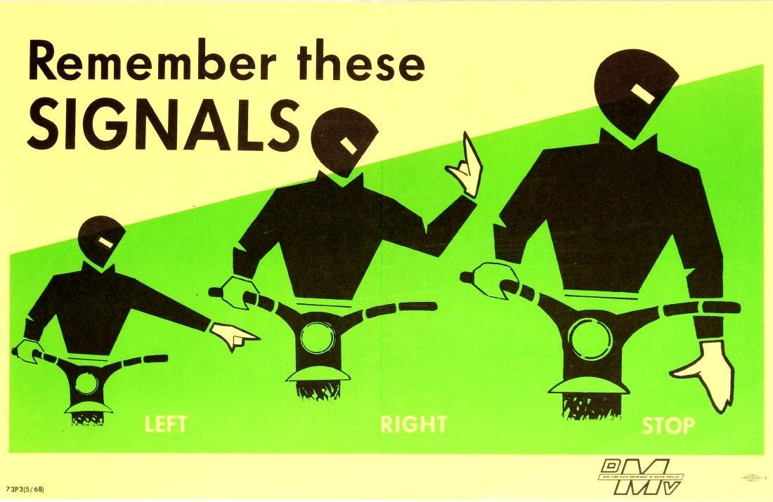 Original  Propaganda Poster Road Signals Bike Safety