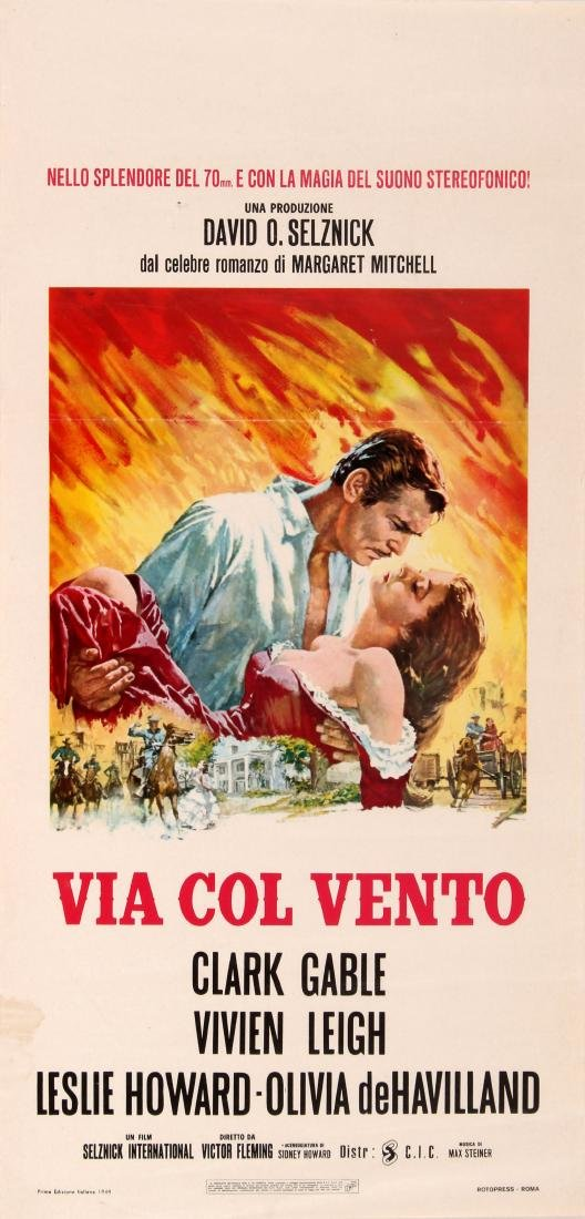 Original  Cinema Poster Gone with the Wind Italian