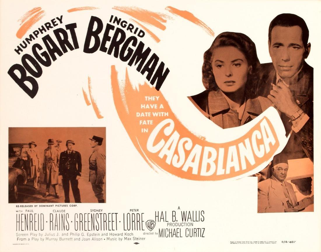 Original  Cinema Poster Casablanca Re-release 1956 USA