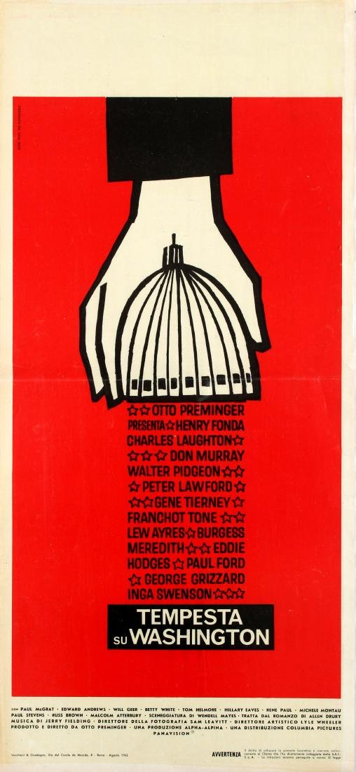 Original  Cinema Poster Advise and Consent Saul Bass