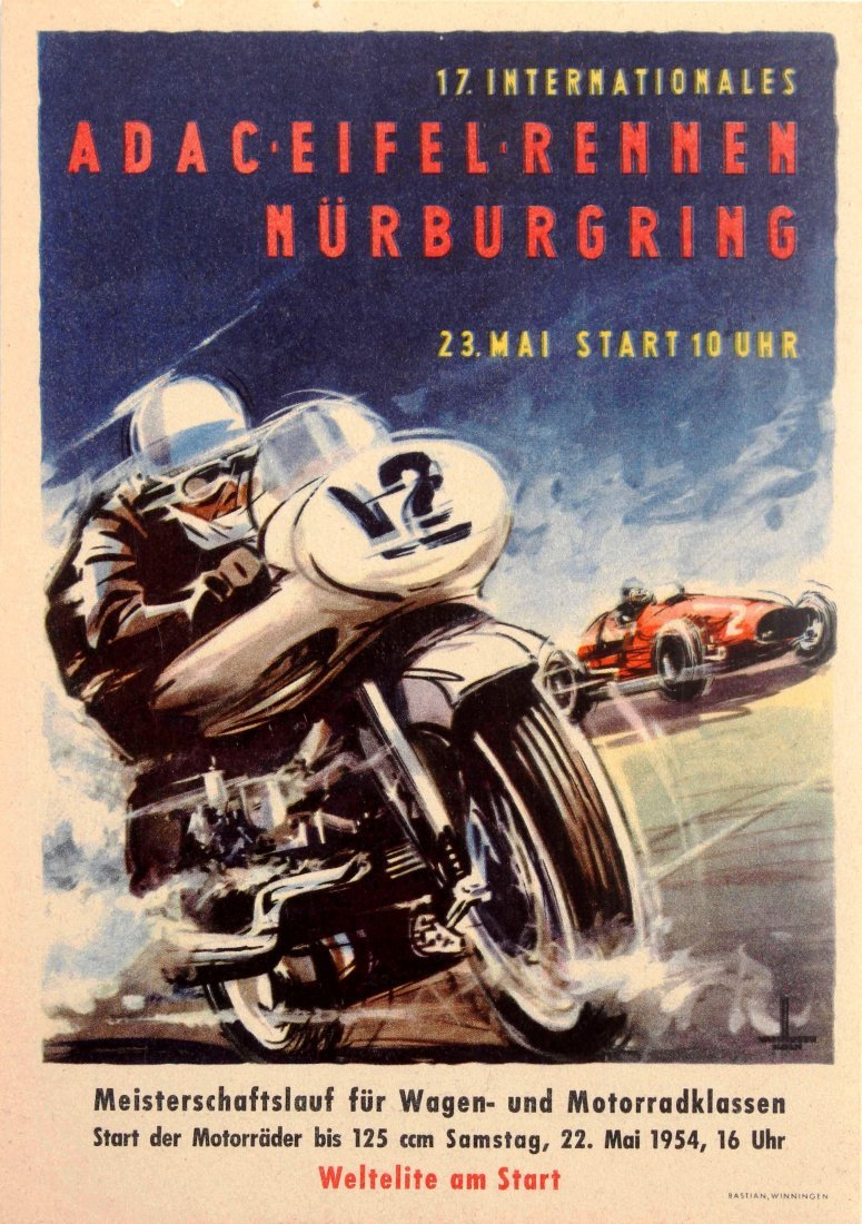 Sport Poster Auto ADAC Eifelrennen Motorcycle Race