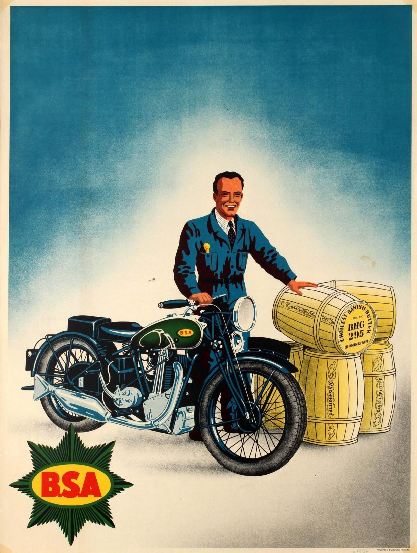 Original Vintage Posters Advertising Posters BSA Motorc