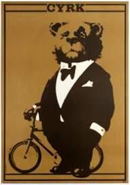 Advertising Poster Cyrk Bear in Tuxedo Bicycle Waldemar