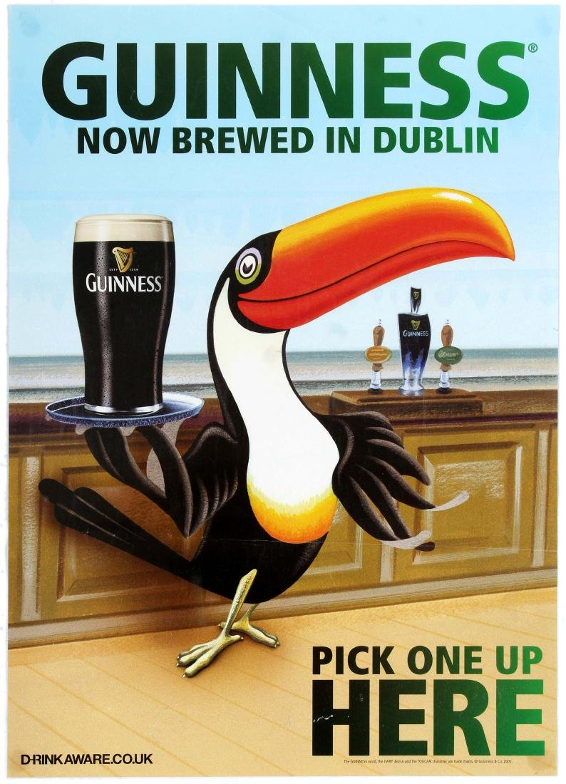Two Advertising Posters Guinness Stout Ale Beer Toucan