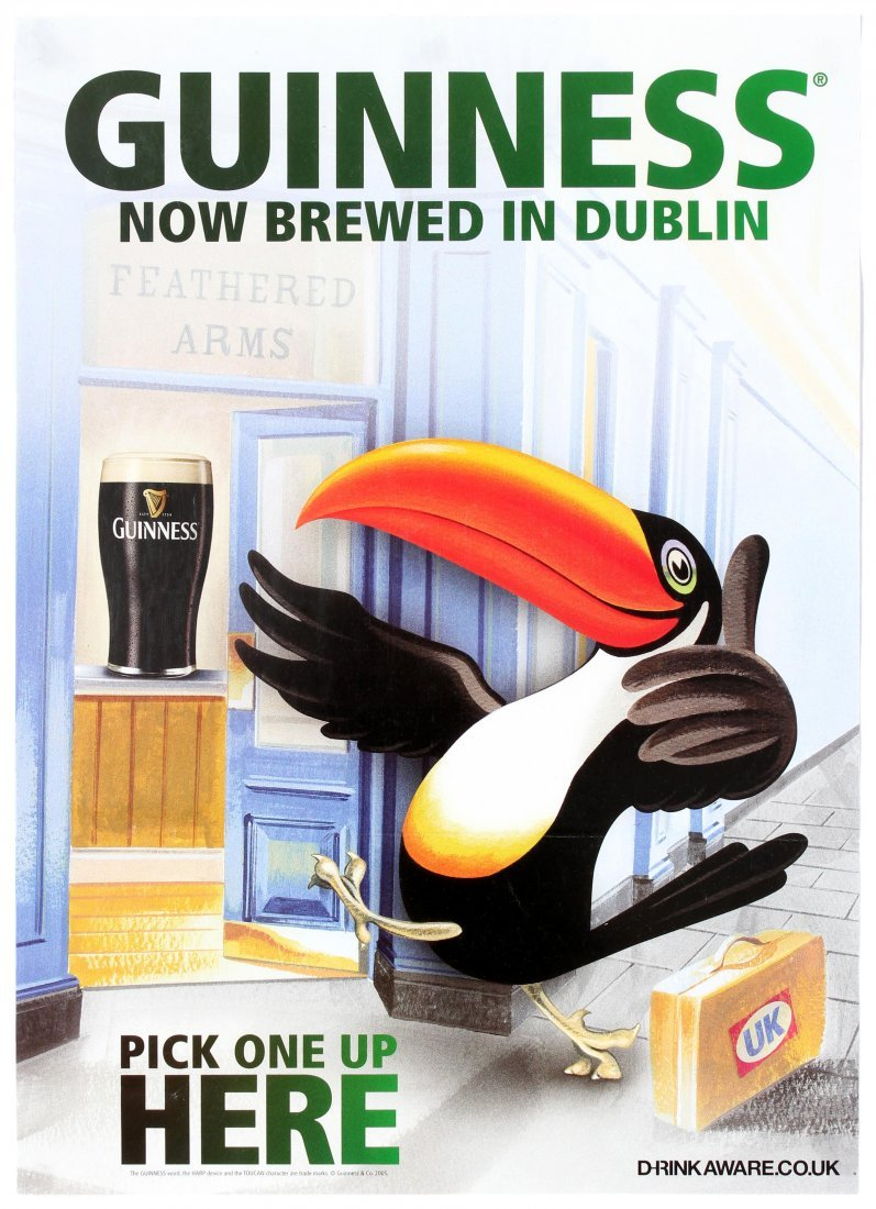 Two Advertising Posters Guinness Stout Ale Beer Toucan - 2