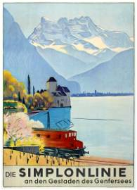 Travel Poster Simplon Line Lake Geneva Emil Cardinaux