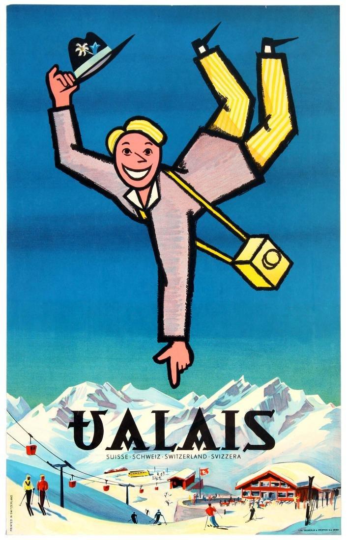 Travel Ski Poster Valais Switzerland Swiss Mountains