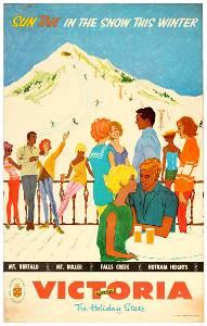 Travel Poster Ski Victoria Holiday State Australia