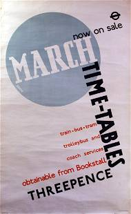 Advertising Poster LT London Transport March Timetables
