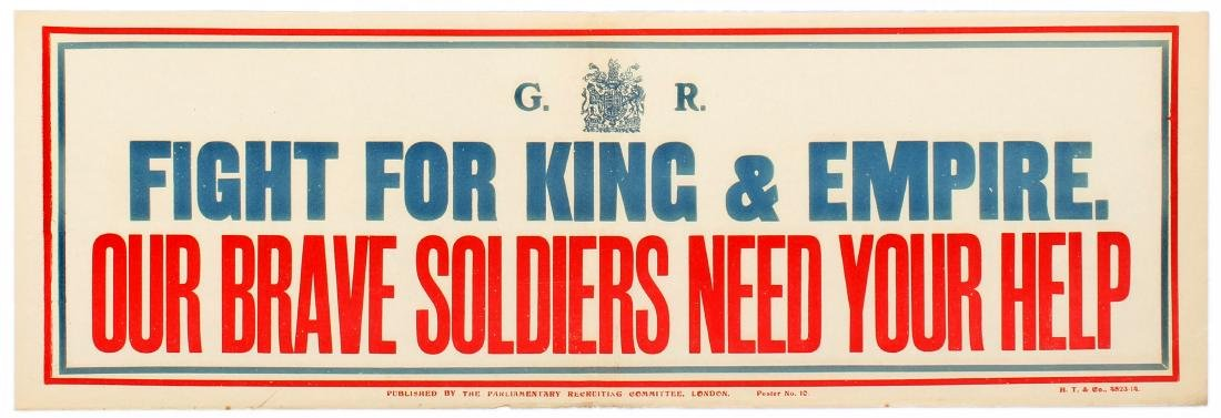 War Propaganda Poster WWI Fight for King and Empire UK