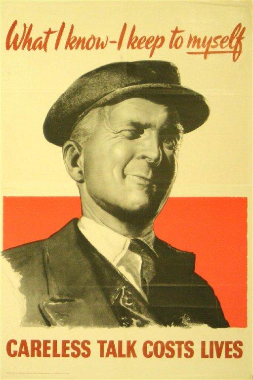 War Propaganda Poster Careless Talk WWII UK