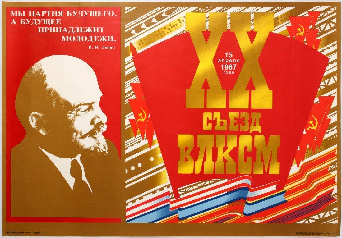 3 Soviet Propaganda Posters Lenin Children Snow USSR